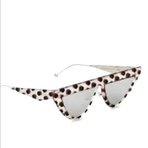 Fendi grey polka dot cat eye sunglasses